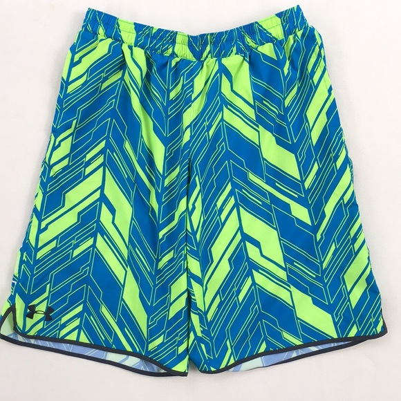NWT Under Armour Men/'s Loose Fit Lacrosse Shorts Gray//Green//Yellow Size Small